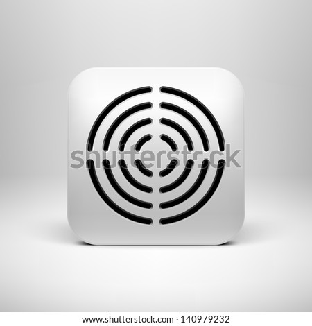 White technology app icon (button) template with circle perforated speaker grill pattern (texture ), realistic shadow and light background user interfaces (UI), applications (apps) and presentations. - stock vector