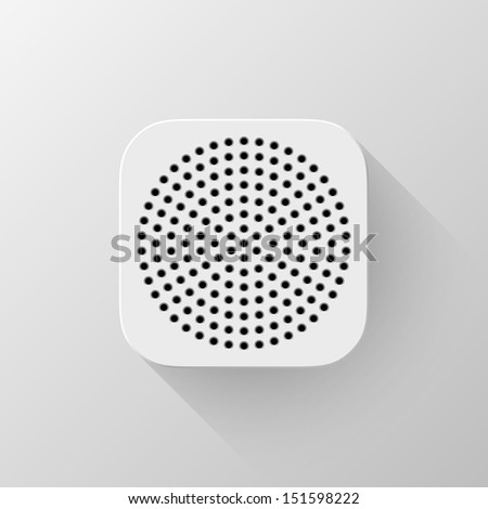 White technology app icon (button) template with circle perforated speaker grill pattern (texture ), realistic shadow and light background user interfaces (UI), applications (apps) and presentations.