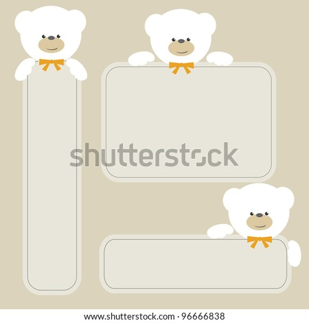 White teddy bears with banners
