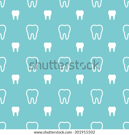 White teeth on turquoise background. Vector dental seamless pattern. - stock vector