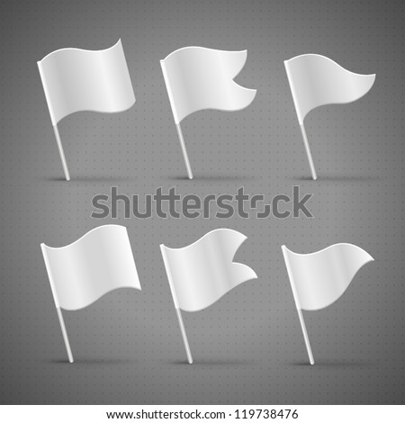 White template flags, detailed vector 3d illustration - stock vector