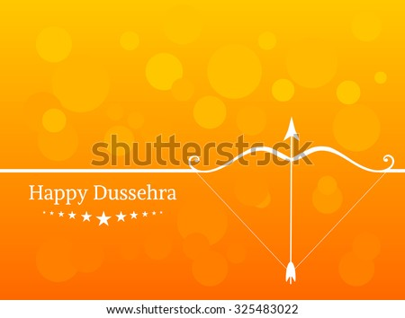 White text calligraphy inscription Happy Dussehra festival Indian with bow and colorful balls on orange background. Vector illustration EPS 10 - stock vector