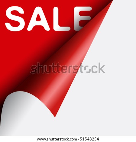 White text sale under curled red corner of black page - stock vector