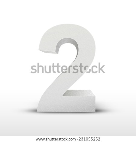 white texture number two isolated over white background - stock vector