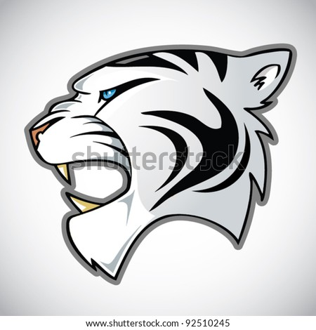 white tiger head - stock vector