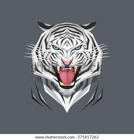 White tiger head, Vector illustration
