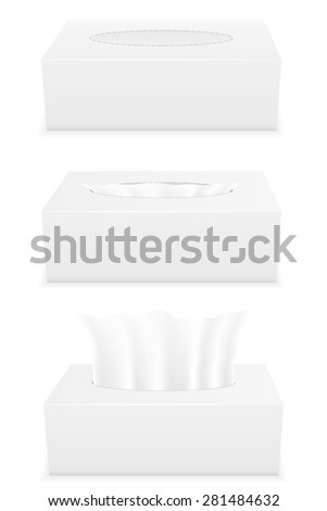 white tissue box set icons vector illustration isolated on background - stock vector