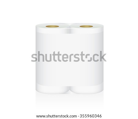 White Tissue Paper includes double roll in pack blank label and no text for mock up packaging - stock vector