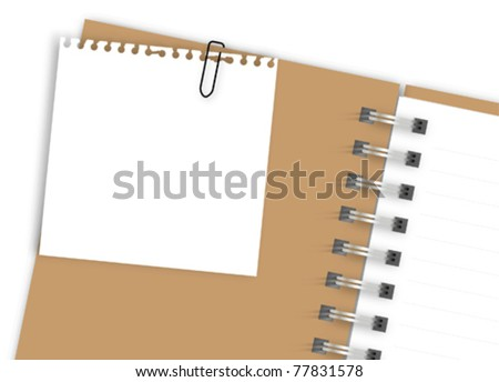 White torn note paper on brown notebook - stock vector