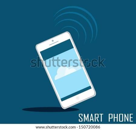 White Touchscreen smartphone - stock vector