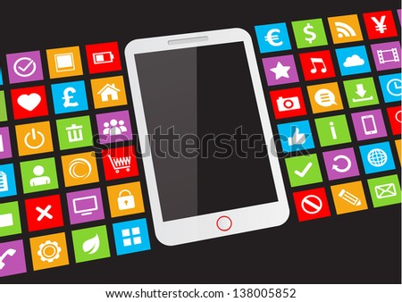 White touchscreen smartphone with blank screen and app icons on black background