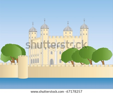 white tower of London ( background on separate layer ) - stock vector