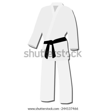 White training kimono with black belt karate sport vector isolated - stock vector