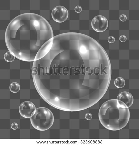White transparent water bubbles with reflection  - stock vector