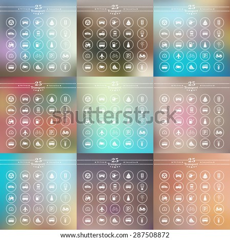 white transport icons on blurred background - stock vector
