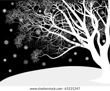 White tree in the winter - stock vector
