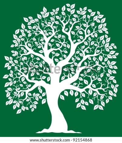 White tree on green background 2 - vector illustration.
