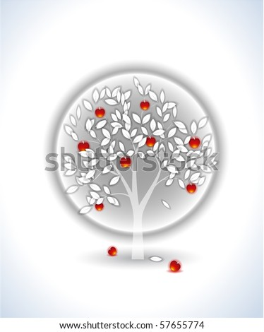 White tree with red apples - stock vector