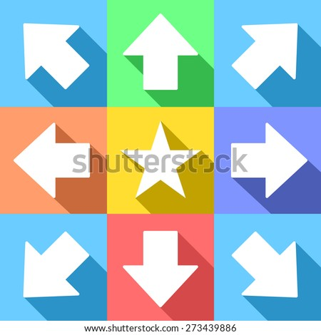 White trend arrows and star for web icons or navigation menu, with long shadows, on pastel colors - stock vector