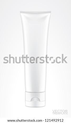 white tube isolted on white, vector illustration - stock vector