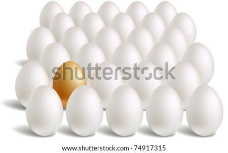 white & unique gold eggs rows - stock vector