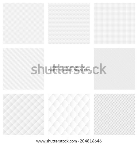 White upholstery texture, seamless vector backgrounds - stock vector
