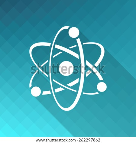 White vector atom icon on blue mosaic background - stock vector
