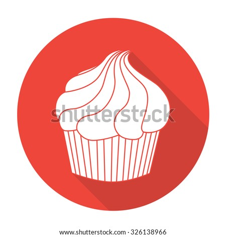 White vector Cake on color circle background. - stock vector