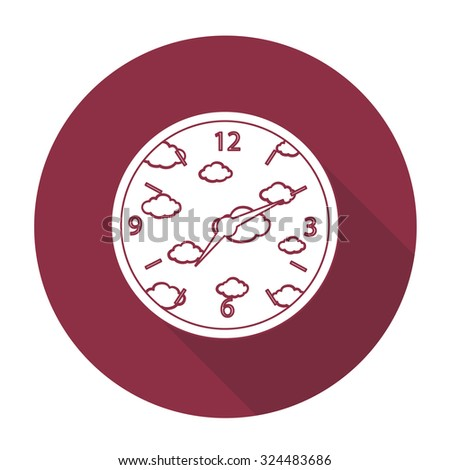 White vector clock on color circle background.