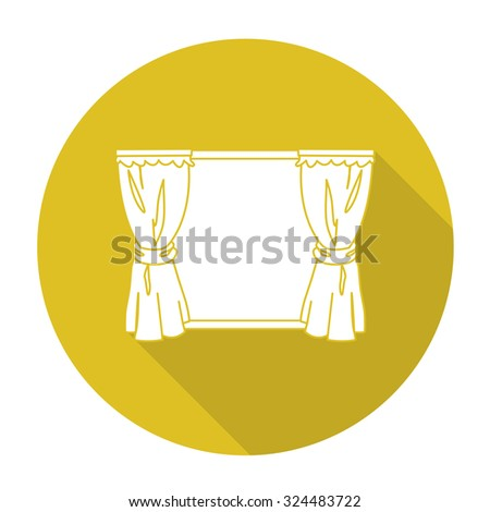 White vector curtain on color circle background. - stock vector