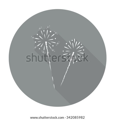 White vector Fireworks on color circle background. - stock vector