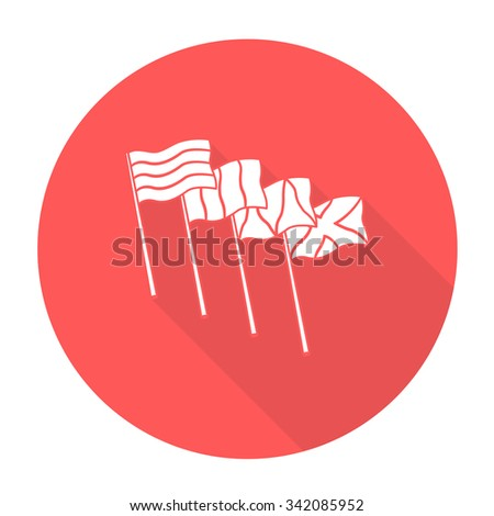 White vector flag hole on color circle background. - stock vector