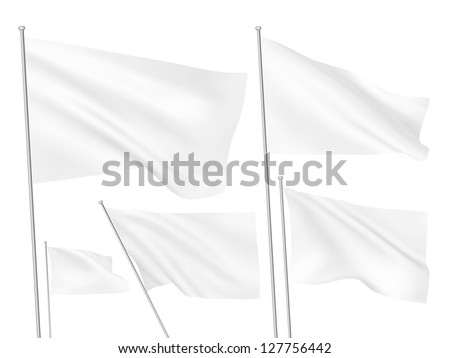White vector flags. A set of 5 wavy 3D flags created using gradient meshes - stock vector