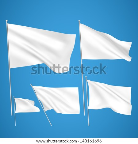 White vector flags on blue background. A set of 5 wavy 3D flags created using gradient meshes. EPS 8 vector - stock vector