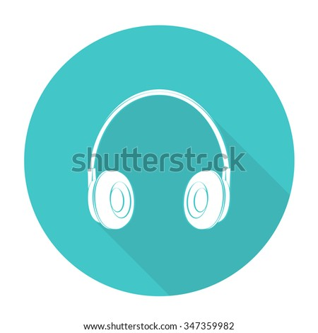 White vector Headphone on color circle background.