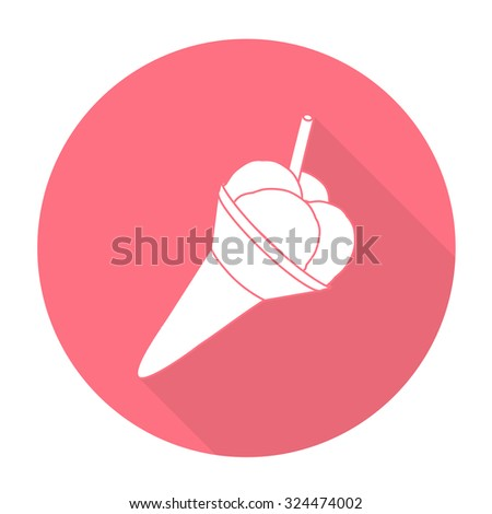 White vector Ice cream on color circle background. - stock vector