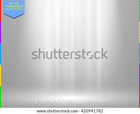White vector light effect on transparent background. Glow ray and sparkling scene design. Sparks on floor. Shining show room - stock vector