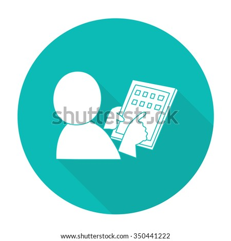 White vector Man hand keeps tablet device on color circle background. - stock vector