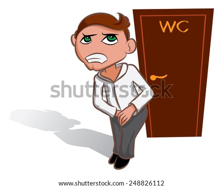 White vector man waiting near WC, toilet sign - stock vector