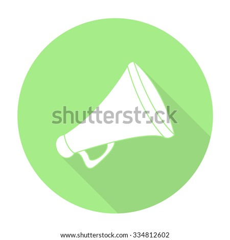 White vector megaphone on color circle background.