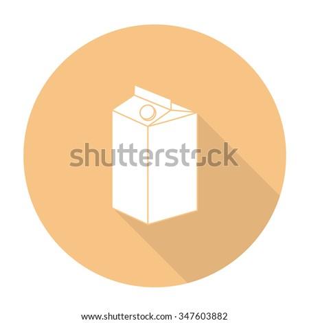White vector milk carton on color circle background. - stock vector