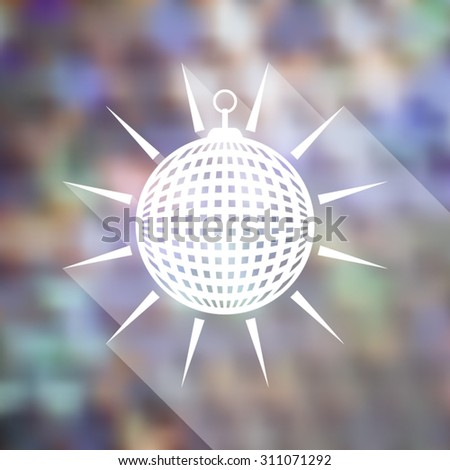 White vector mirror disco ball on blurred background - stock vector