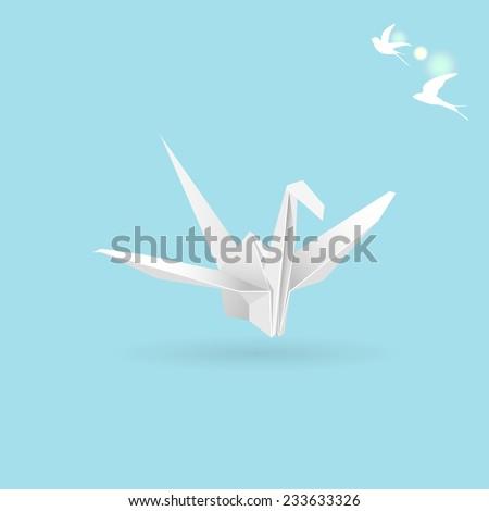 white vector paper crane on light blue background - stock vector