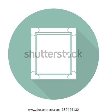 White vector picture frame on color circle background.