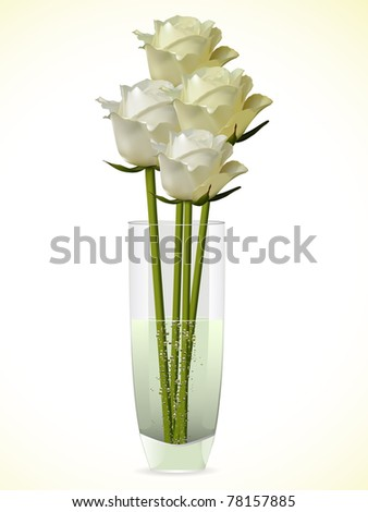 white vector roses on a white background