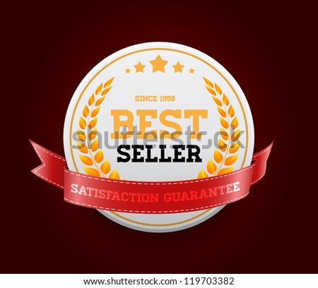 """White vector round badge with red ribbon """"Bestseller"""" - stock vector"""