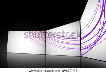 white vector screens(lines are easily removable) - stock vector