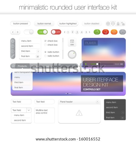 White vector set of various control elements used for User Interface web design template projects  - stock vector