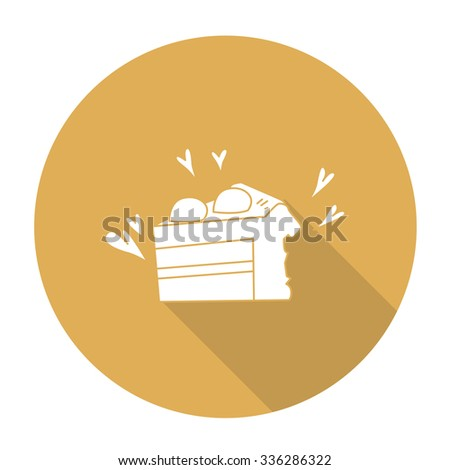 White vector shortcake on color circle background. - stock vector