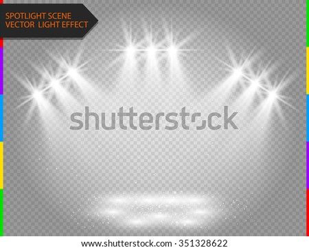 White vector spotlight light effect on transparent background. Concert scene with sparks illuminated by glow ray. Abstract star flash. - stock vector